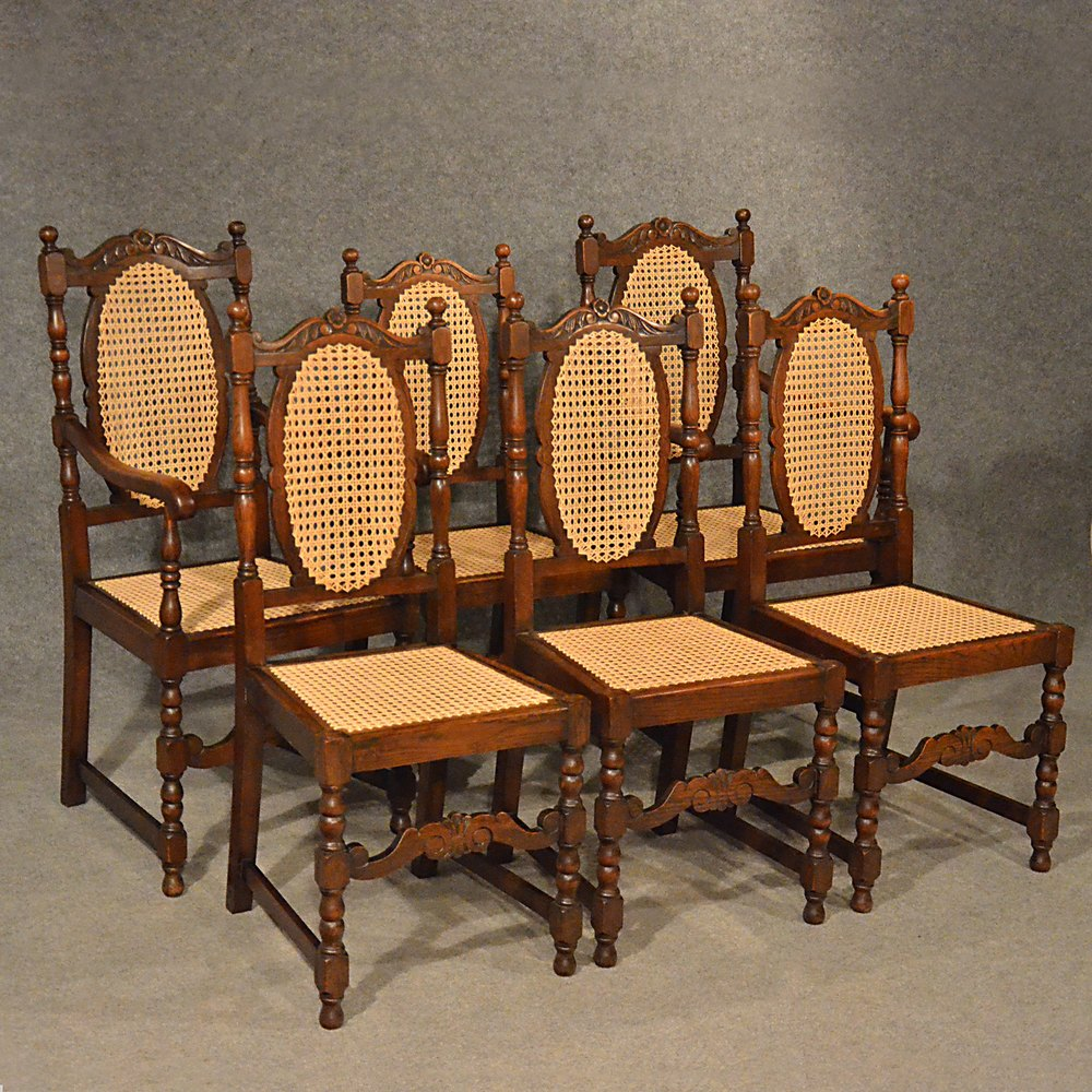 Oak Kitchen Chairs: Antique Oak Chairs Set 6 Kitchen Dining
