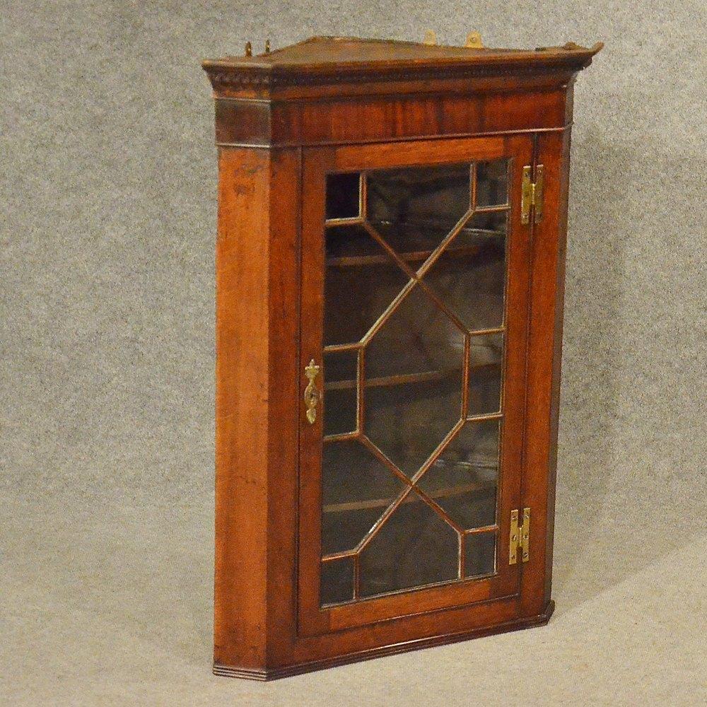 Antique Oak Corner Cupboard English Georgian Wall Cabinet ...