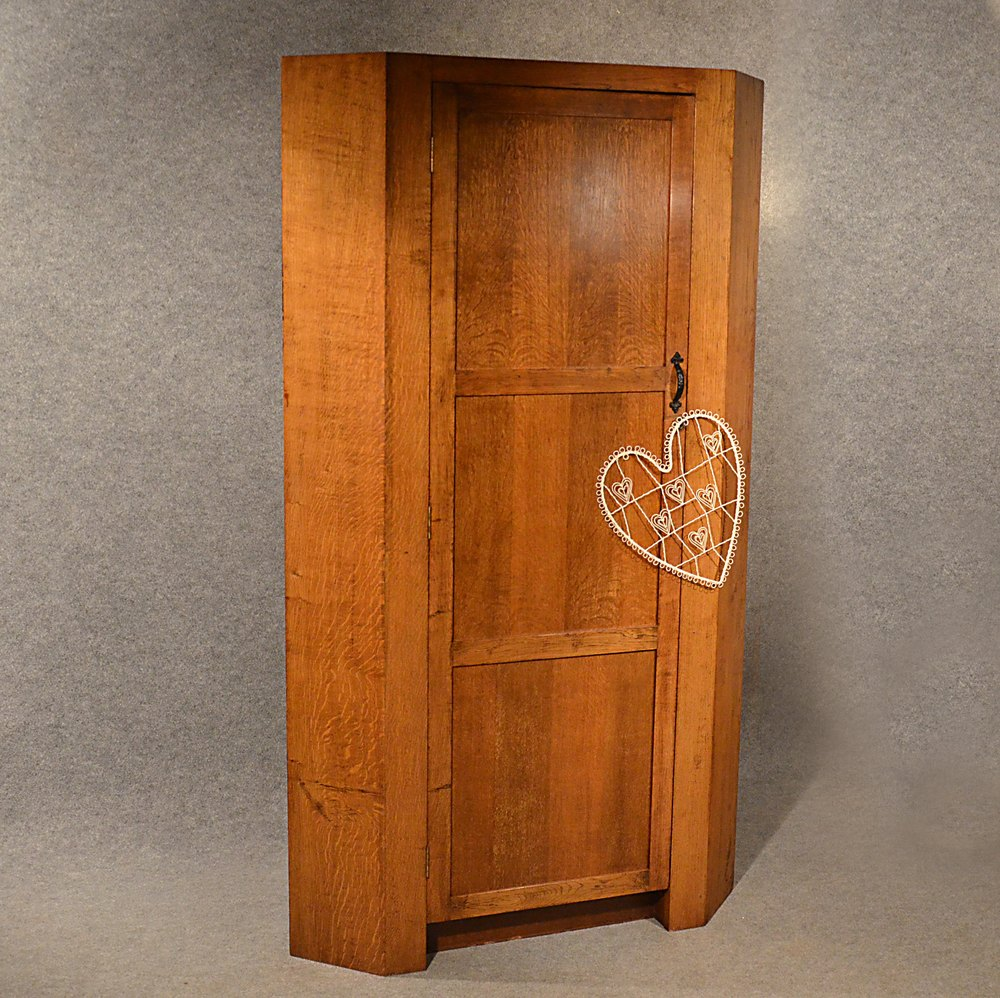 Antique Oak Corner Wardrobe Armoire 6 Cupboard Antiques