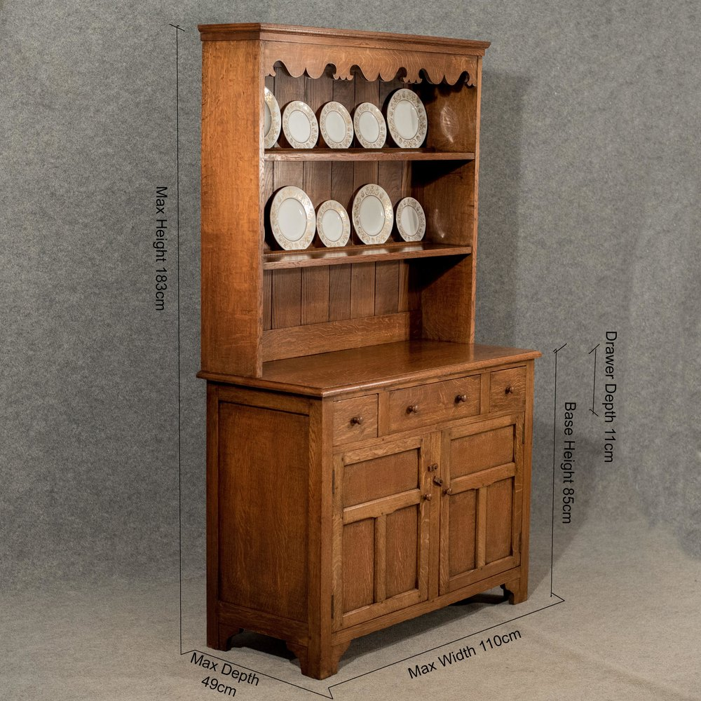 Antique Oak Kitchen Dresser Display Cabinet