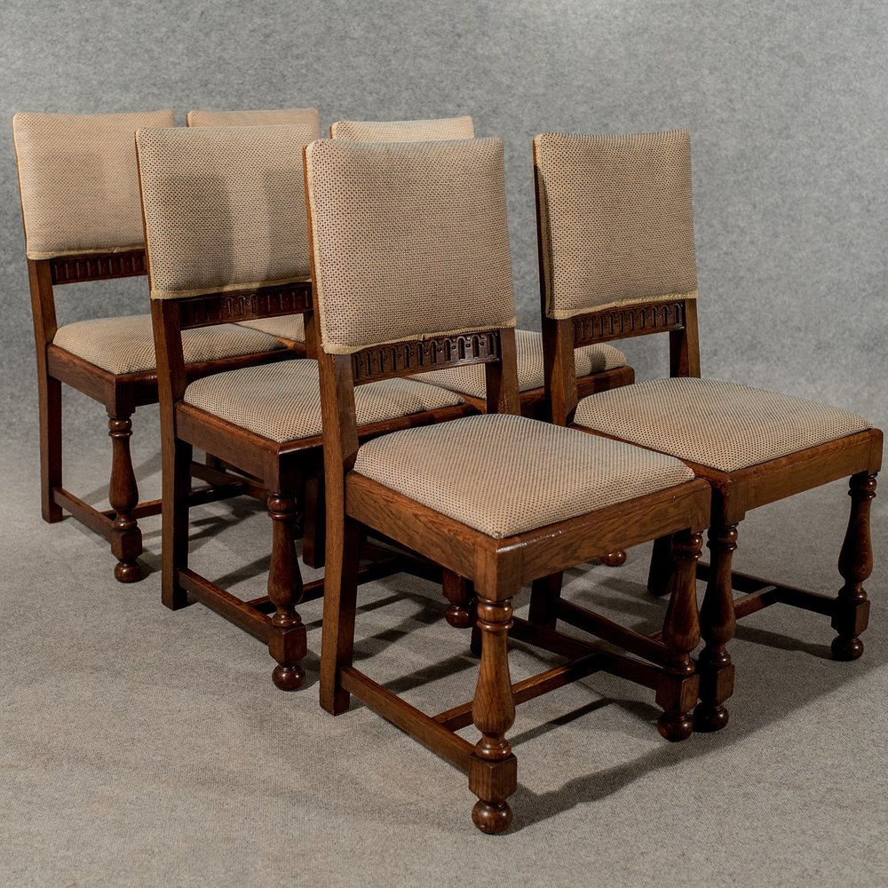 Antique Oak Chairs ~ Antique oak set six dining or kitchen chairs antiques