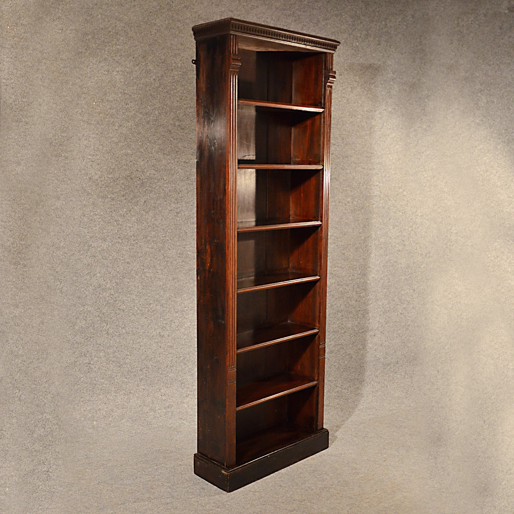 Antique Oak Tall Bookcase Narrow Library Cabinet