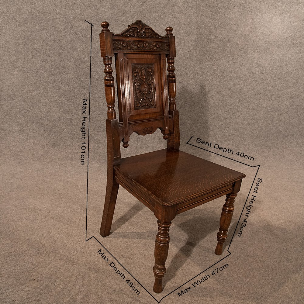 ... Antique Hall Chairs ... - Antique Pair Oak Hall Side Dining Chairs Quality - Antiques Atlas