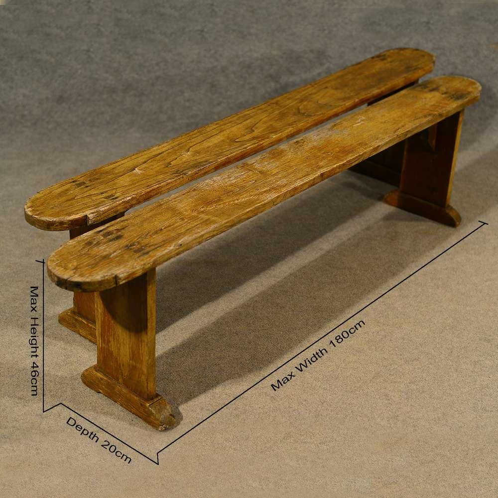 antique pair of 6 u0027 elm bench benches pew stool antiques atlas