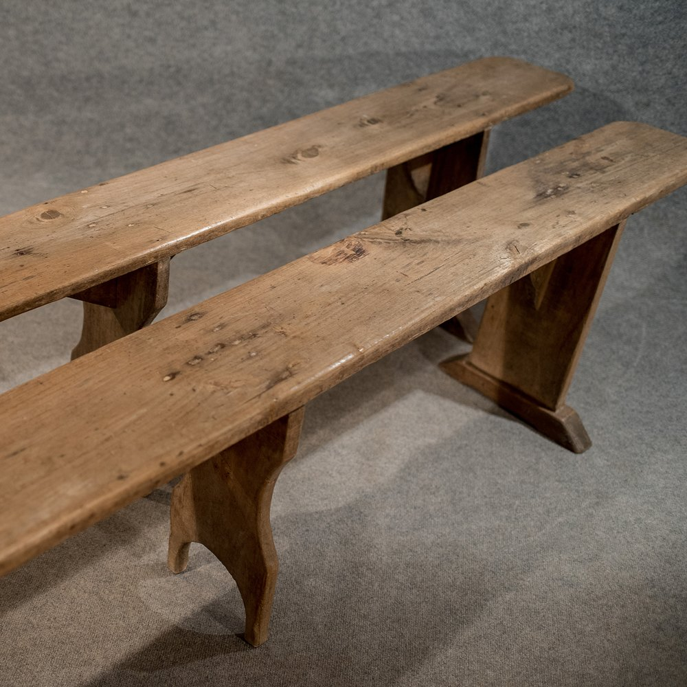 Antique Pair Of 8 39 Long Country Benches Pews English