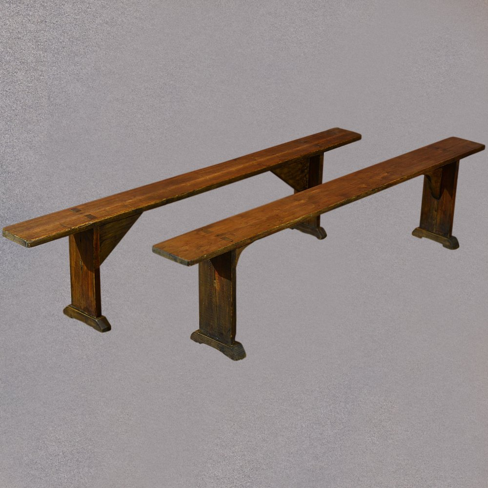 Antique Pair Of Benches Kitchen Seats Pine Plank Antiques Atlas