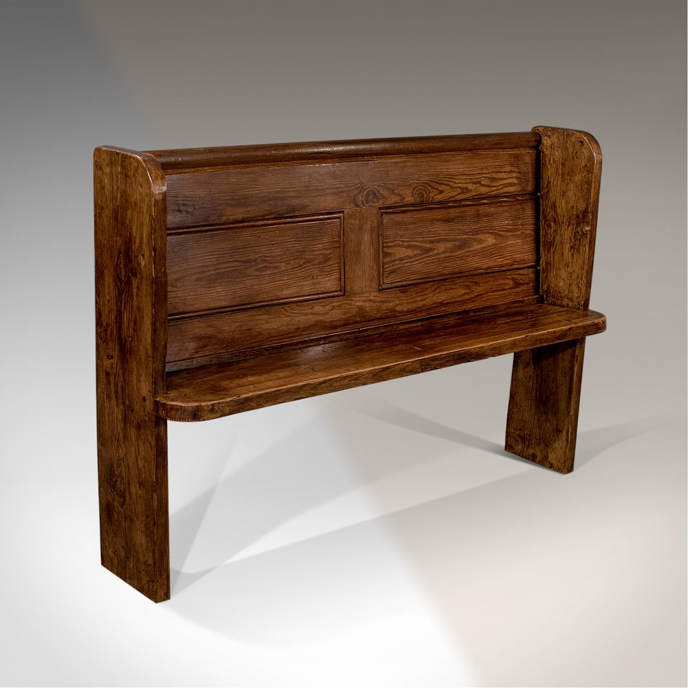 Pew Bench Seating Kitchen Ct: Antique Pine Bench Settle Pew Country Hall Seat