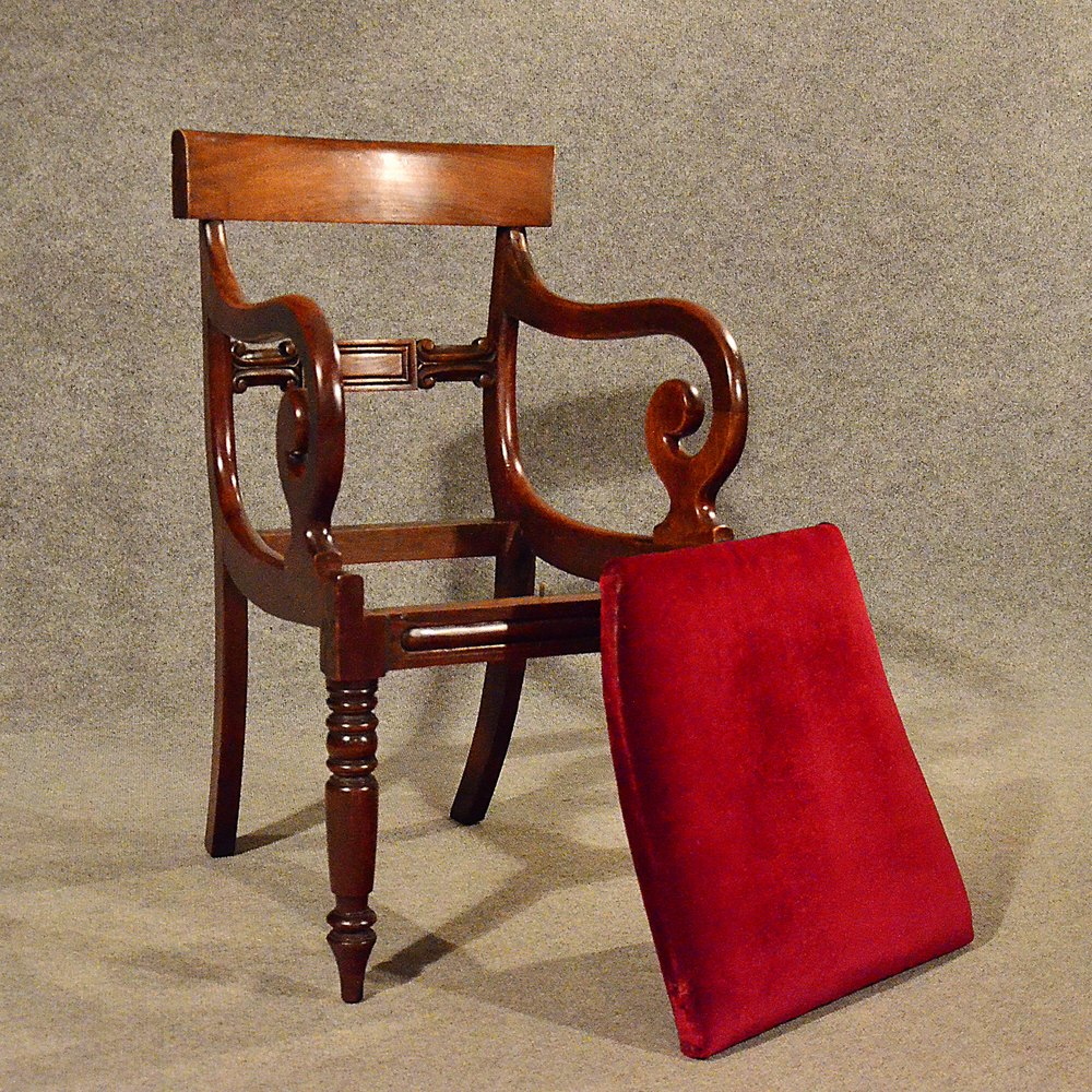 Antique Scrollimgs: Antique Regency Scroll Arm Chair Office Desk Study