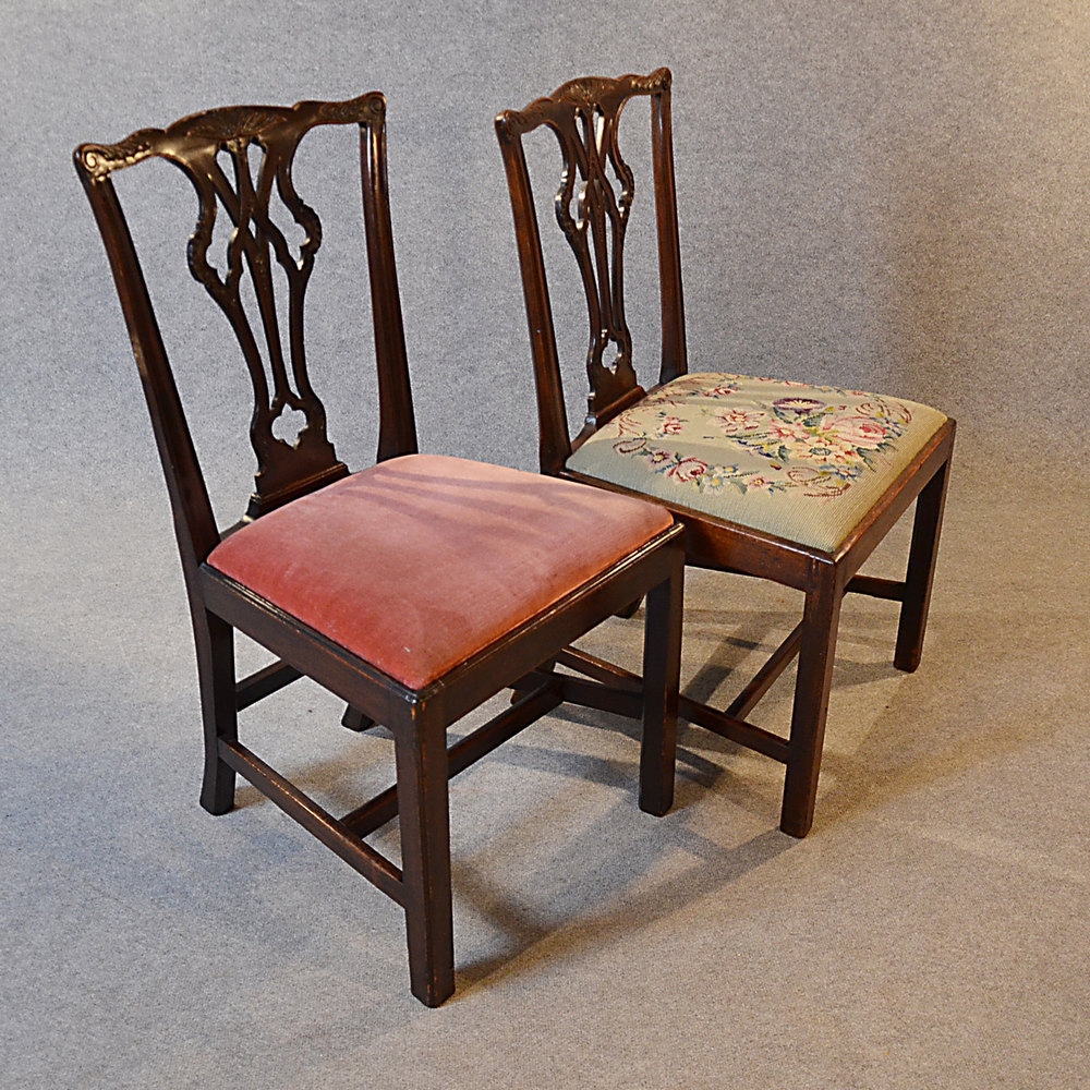Antique Set 6 Dining Chairs Victorian Chippendale