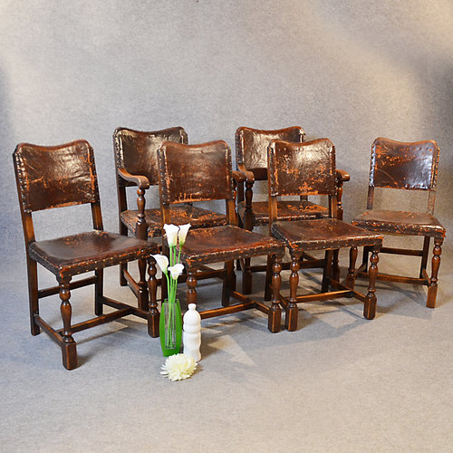 Antique Set 6 Six Oak Leather Dining Chairs Inc