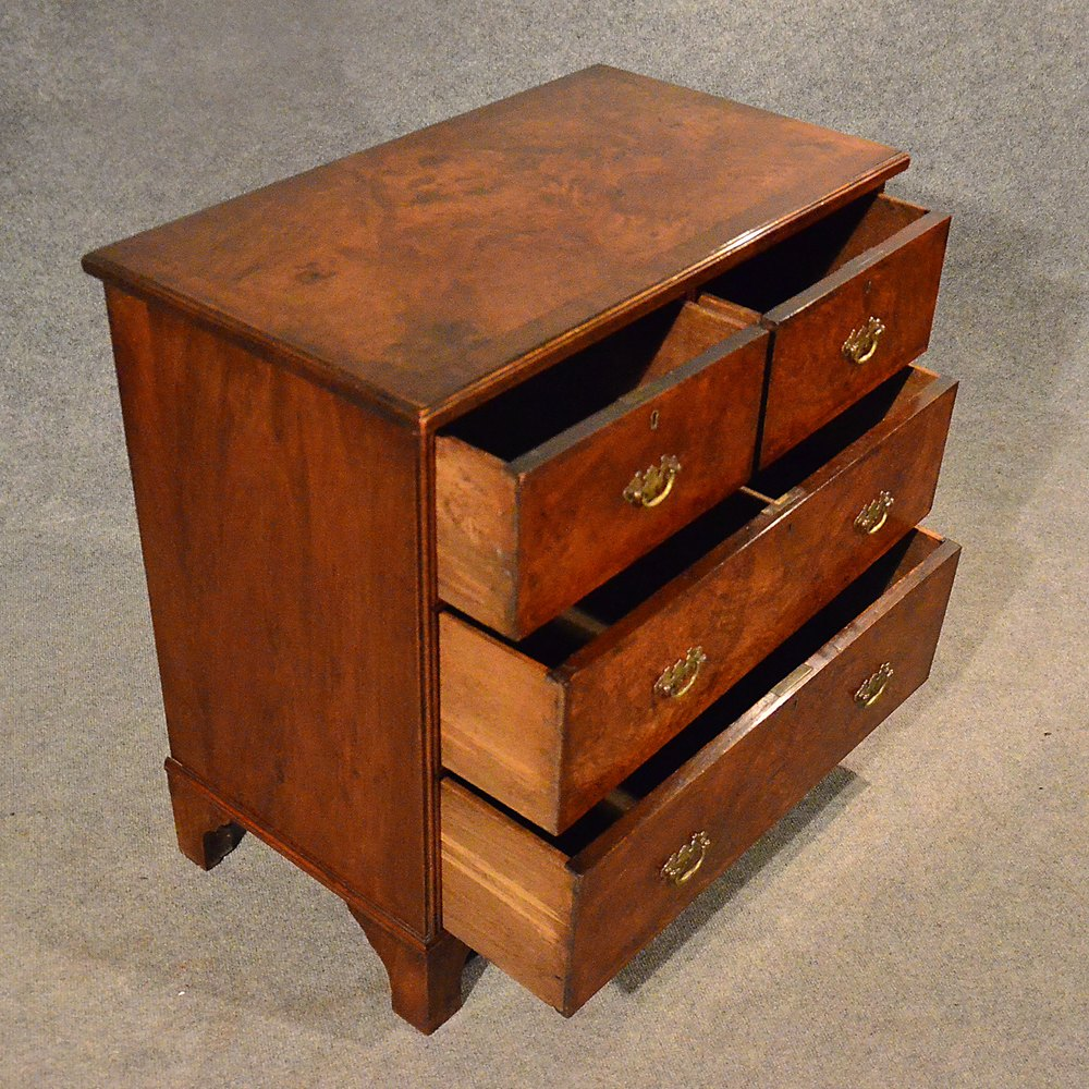 Antique Small Chest Of Drawers Quality Burr Walnut