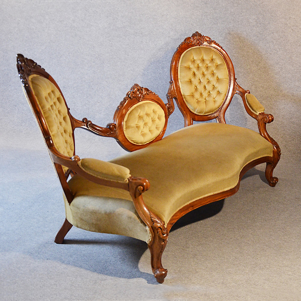 Antique Sofa Spoon Back Double Ended Couch Settee