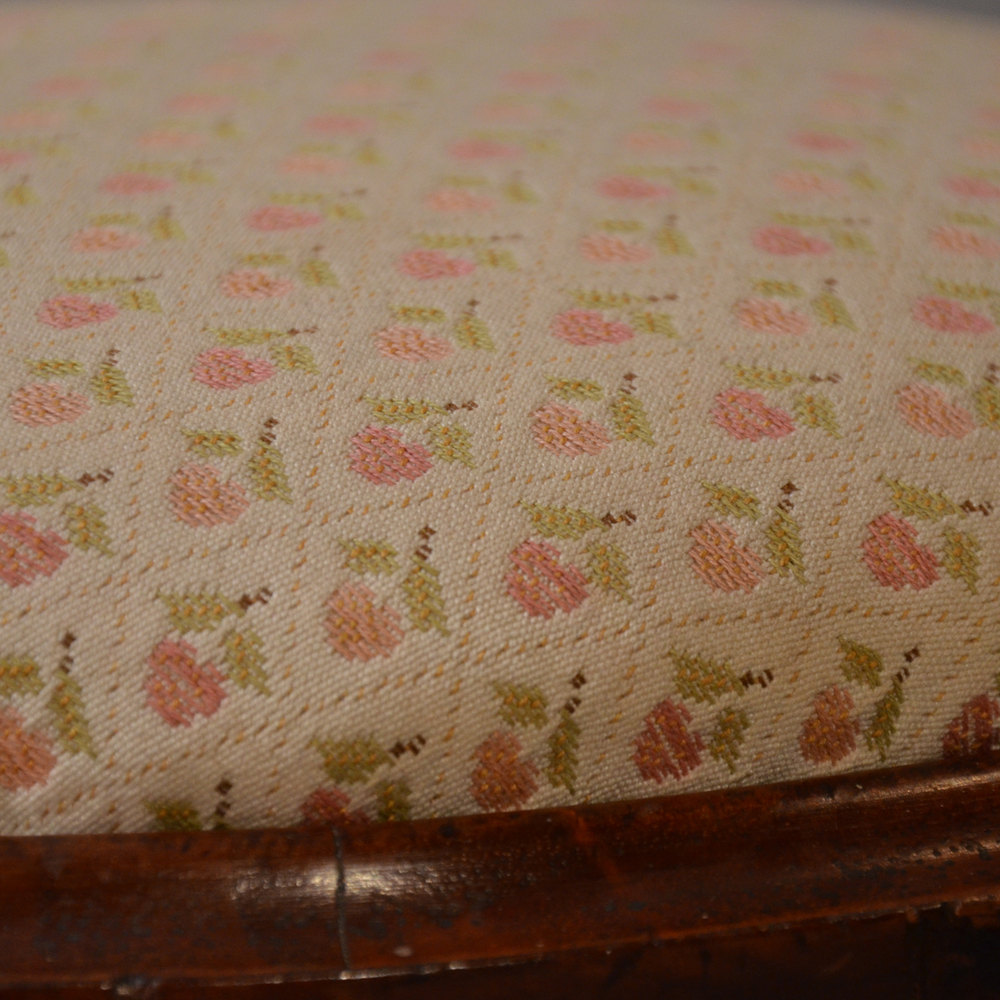 Antique Stool Footstool Upholstered Gout Foot Rest