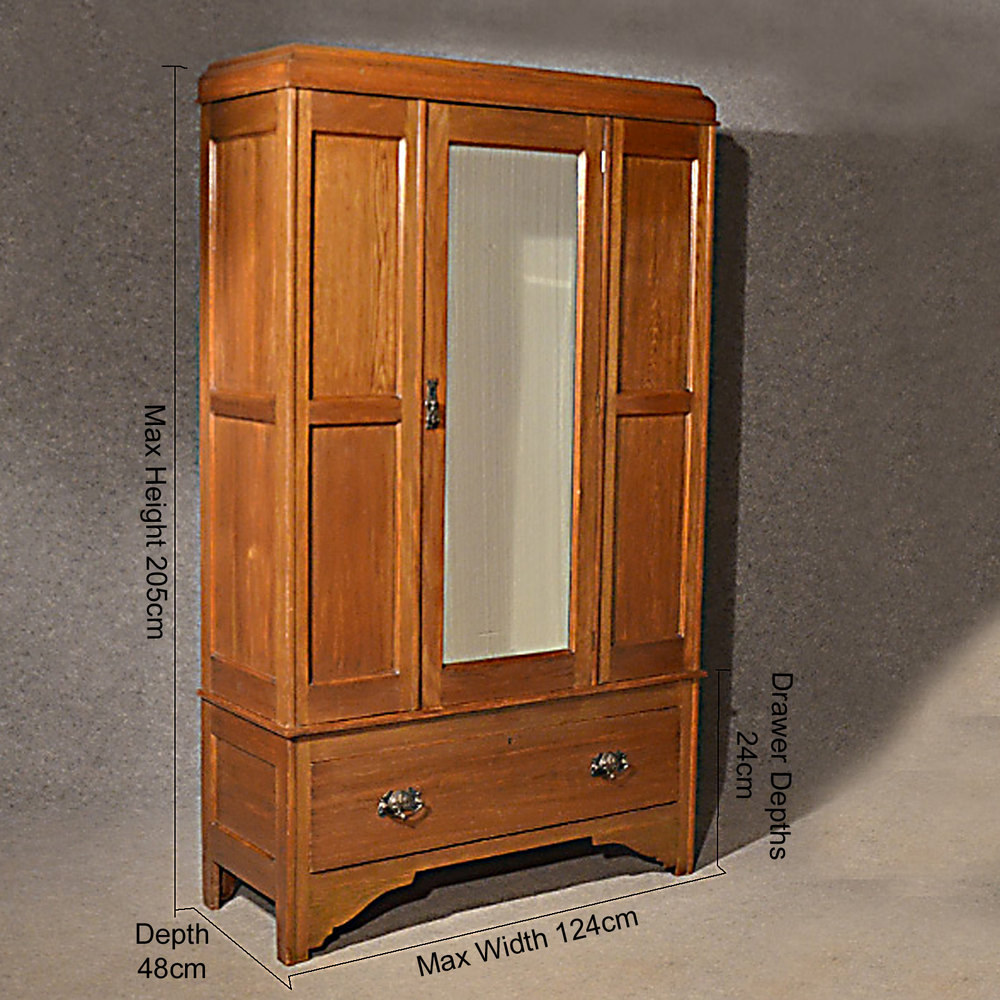 Antique Wardrobe Oak English Edwardian Mirror Door