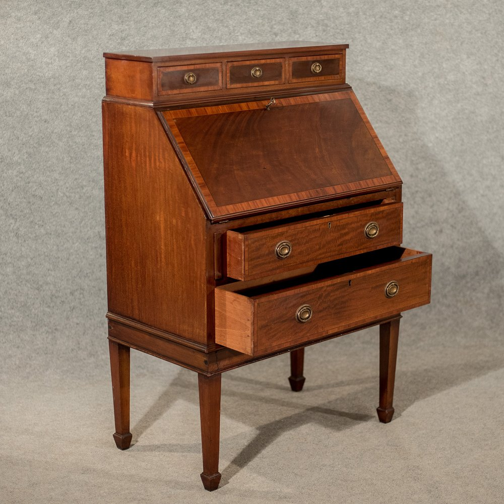 Antique writing desk bureau edwardian mahogany antiques for Bureau antique