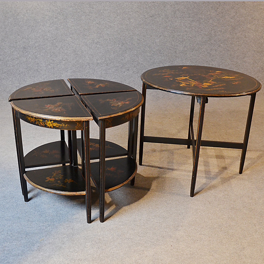 Art deco nest tables ebonised oriental asian side tables for Table orientale