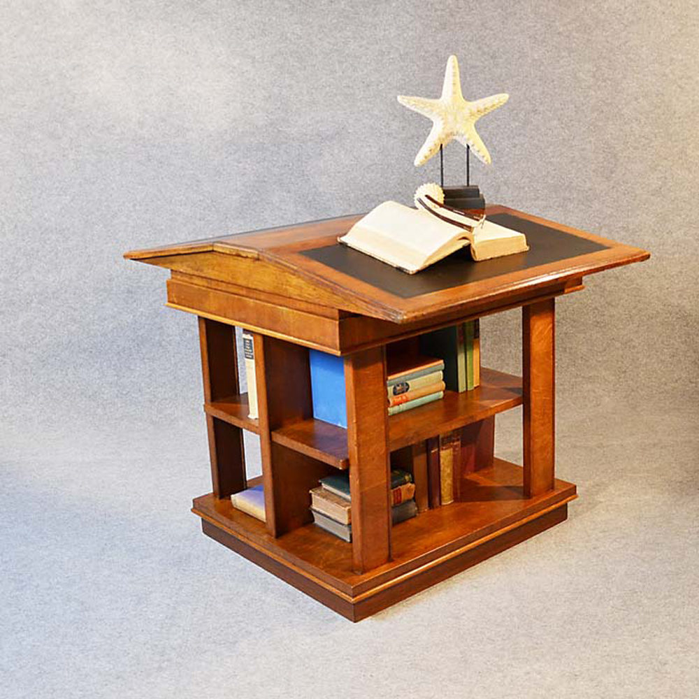 Bookcase Writing Desk Double Library Reading Table