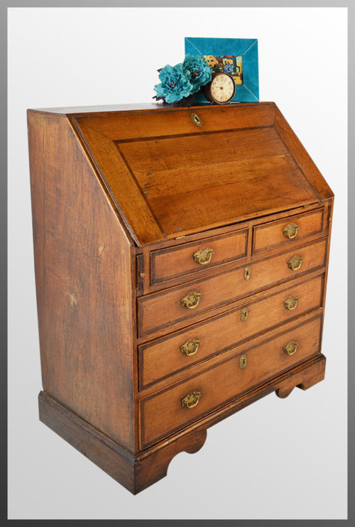 bureau large english oak fall front writing desk antiques atlas. Black Bedroom Furniture Sets. Home Design Ideas
