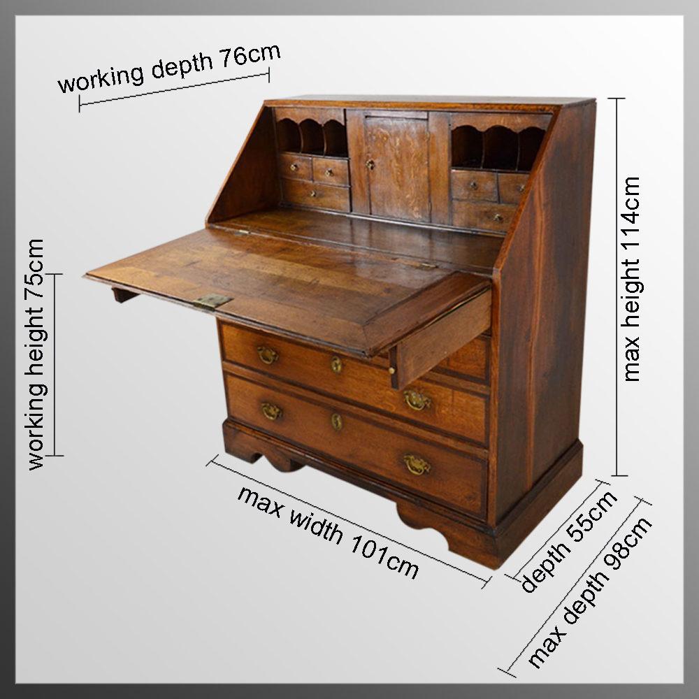 bureau large english oak fall front writing desk antiques atlas. Black Bedroom Furniture Sets. Home Design Ideas