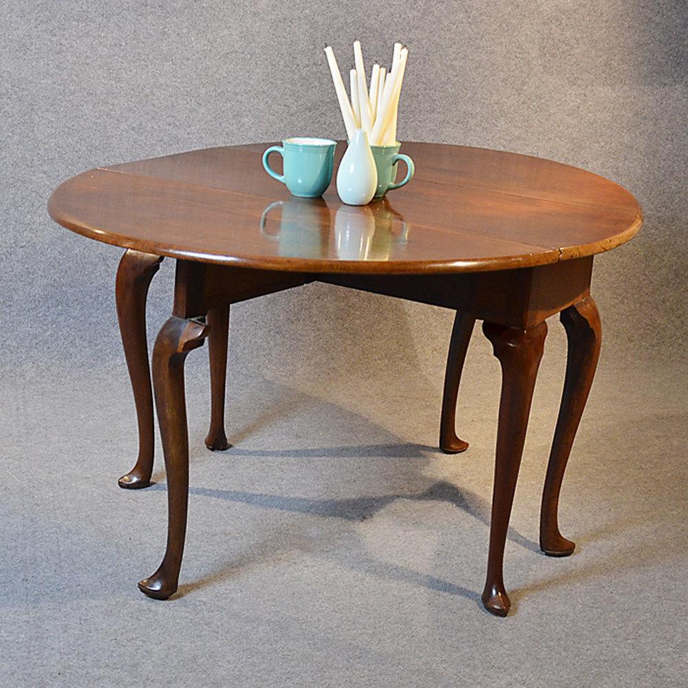 Elm drop leaf dining table hoof foot cabriole leg for Antique drop leaf dining table