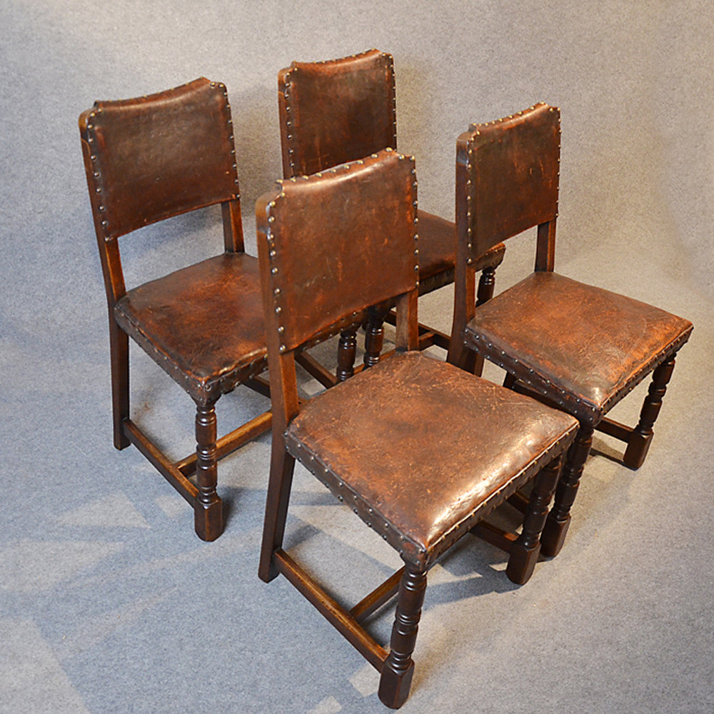 Four oak leather dining chairs cromwellian antiques atlas for Oak dining chairs