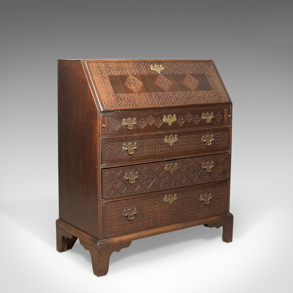 Georgian antique bureau english oak writing desk for Bureau antique
