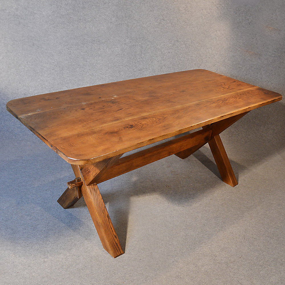 kitchen dining table solid english oak 6 39 long antiques. Black Bedroom Furniture Sets. Home Design Ideas