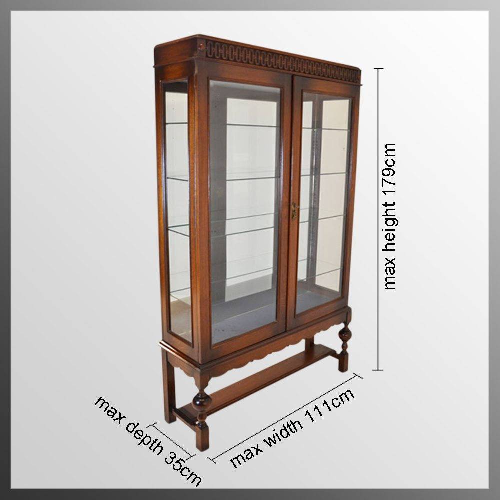 Large Glazed Display Case Mirrored China Cabinet