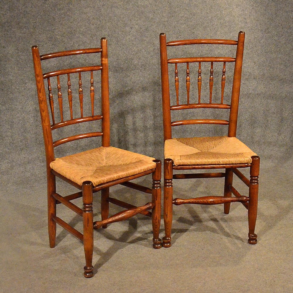 Oak chairs pair kitchen dining country quality antiques for Oak dining chairs