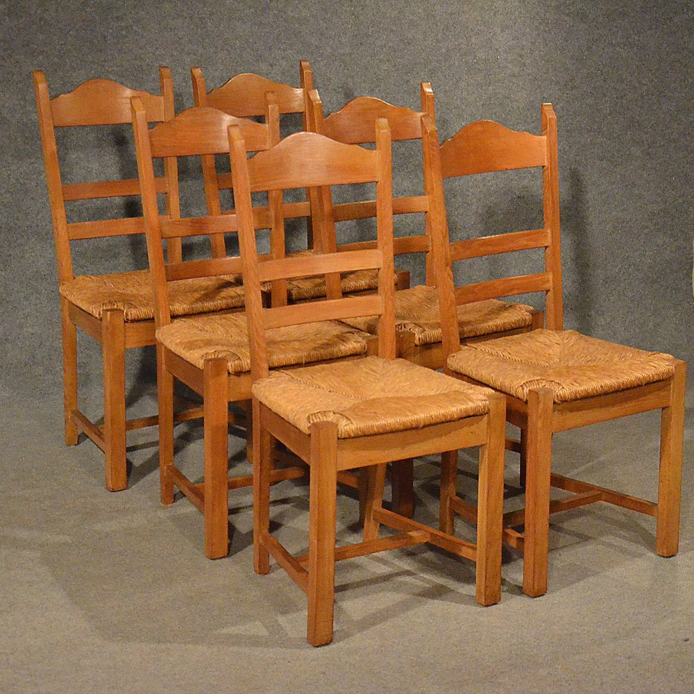 Oak Kitchen Chairs: Oak Chairs Set 6 Kitchen Dining Country