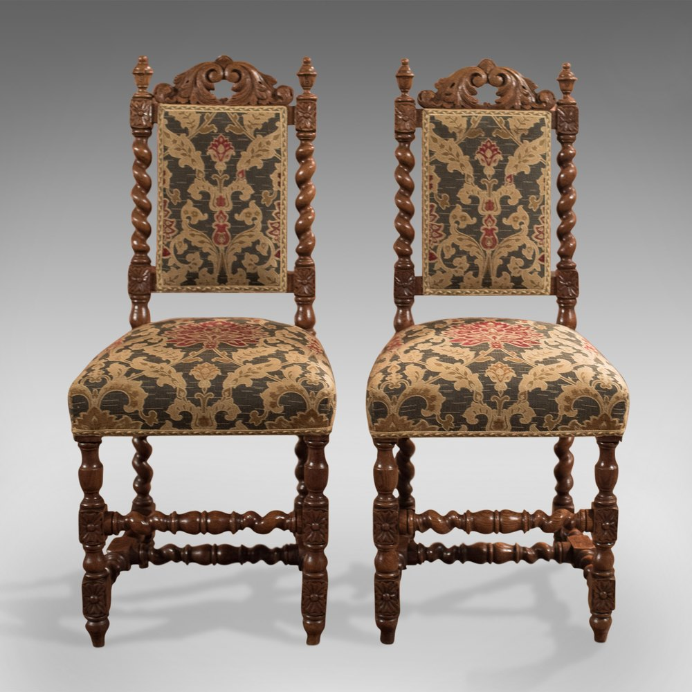 Antique Foyer Chair : Pair of antique hall chairs victorian oak needlepoint