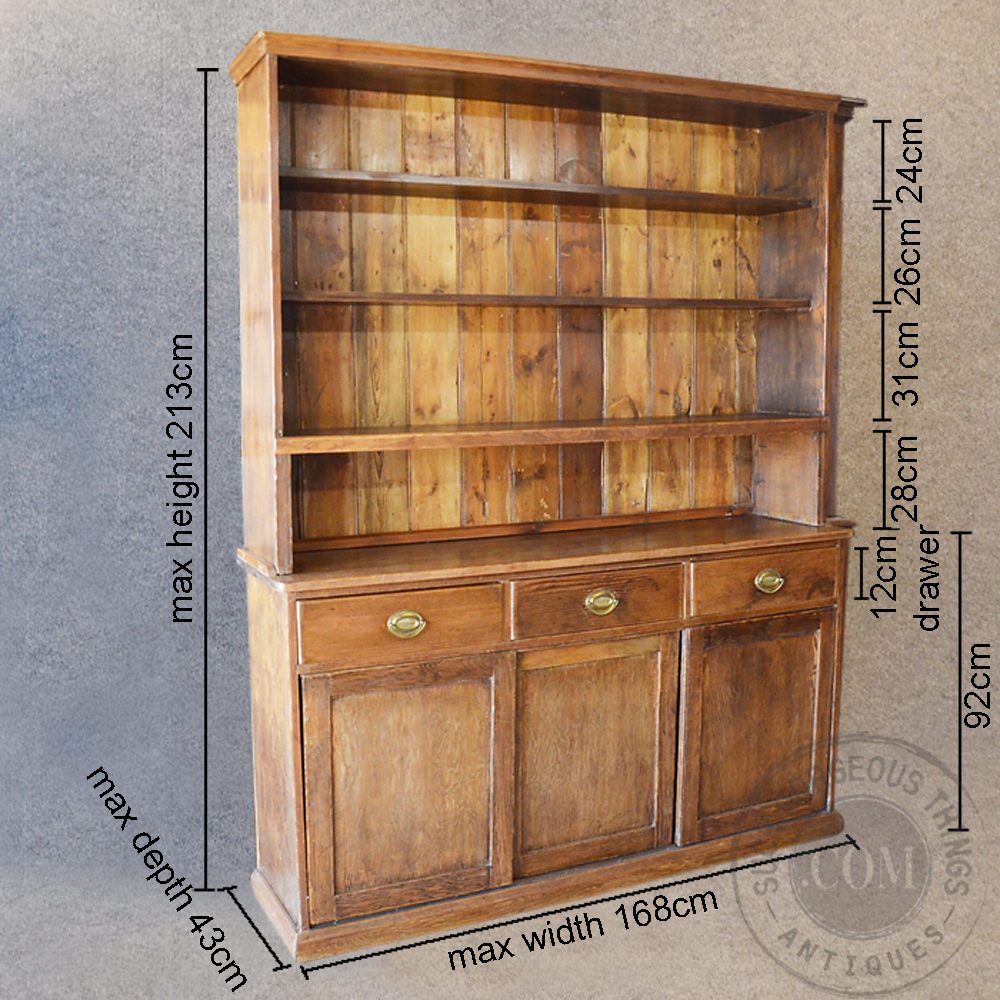 Pine dresser welsh country kitchen display cabinet for Kitchen display