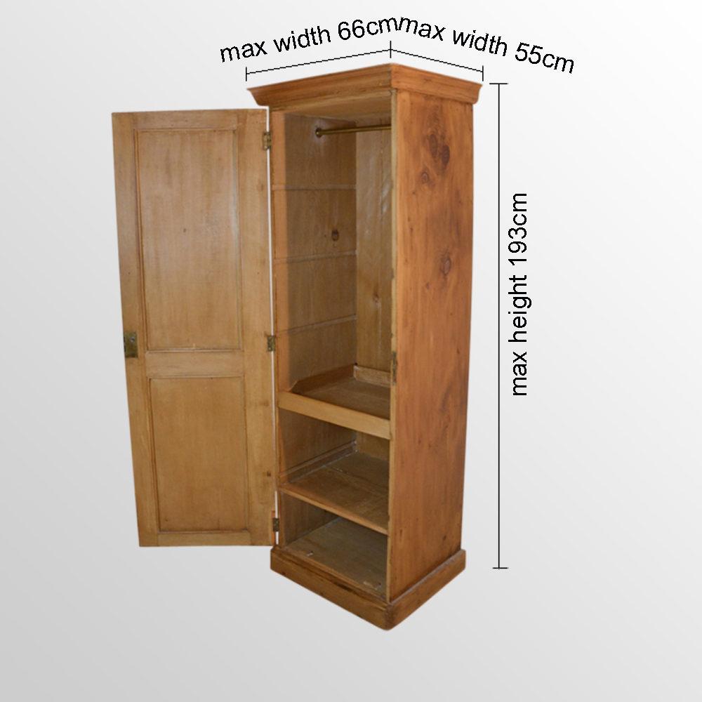Pine Single Wardrobe Cabinet Tall Cupboard Closet