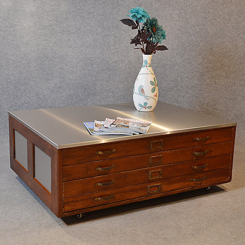 Plan Chest Coffee Table Vintage Industrial Drawers