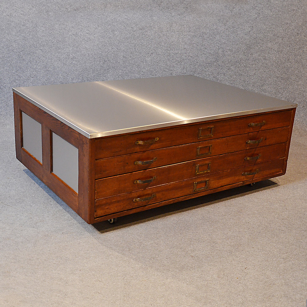 Industrial Coffee Table London: Plan Chest Coffee Table Vintage Industrial Drawers