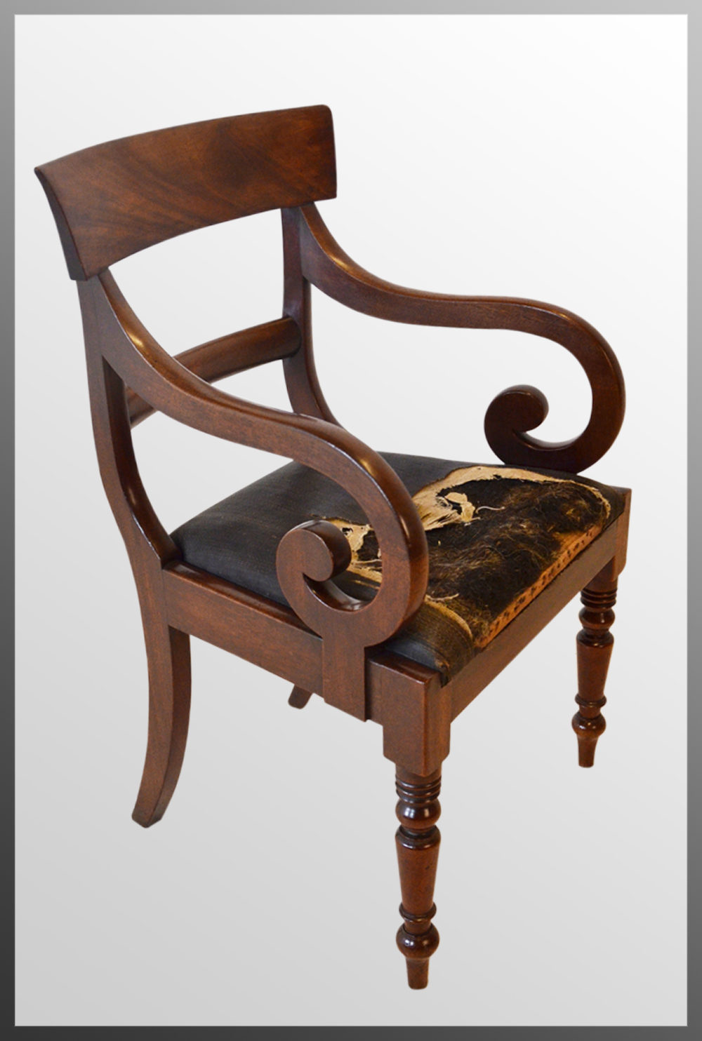 Regency Armchair English Chair Scroll Arm - Antiques Atlas