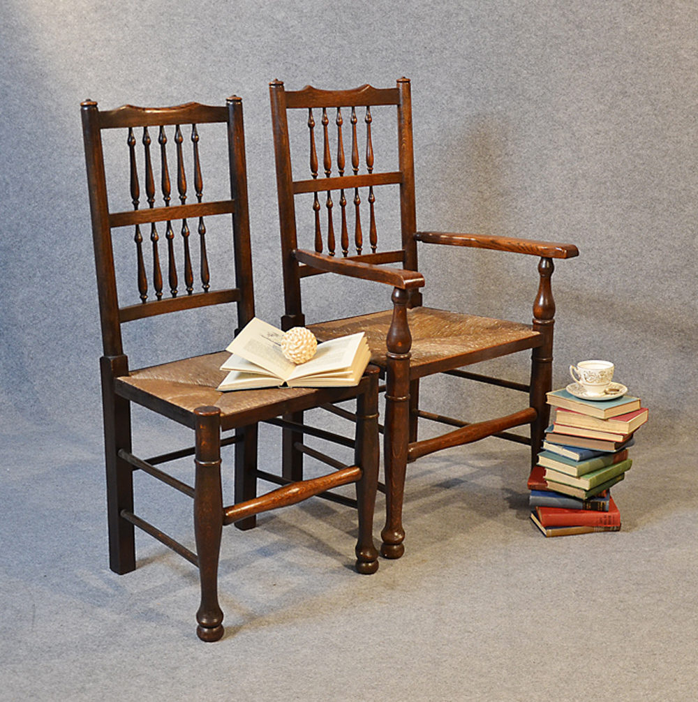 Oak Kitchen Chairs: Set 8 Oak Kitchen Dining Chairs Northern Spindle