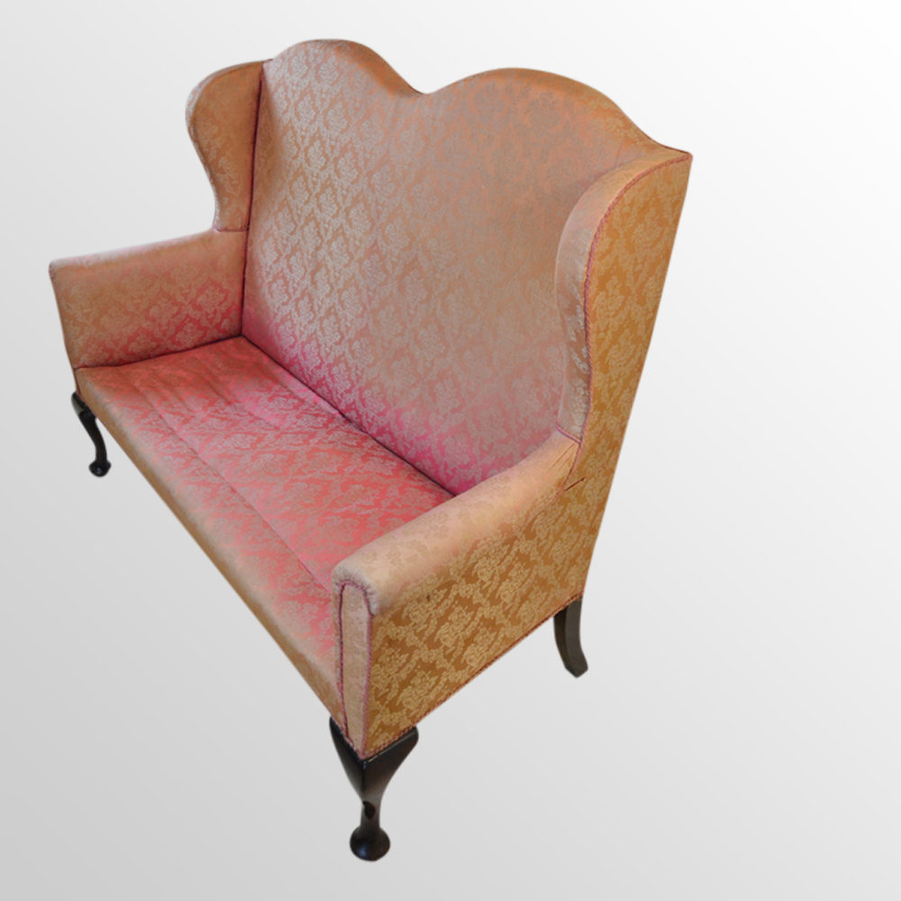 Sofa High Back Couch Wing Arm Settee 3 Seater Antiques Atlas