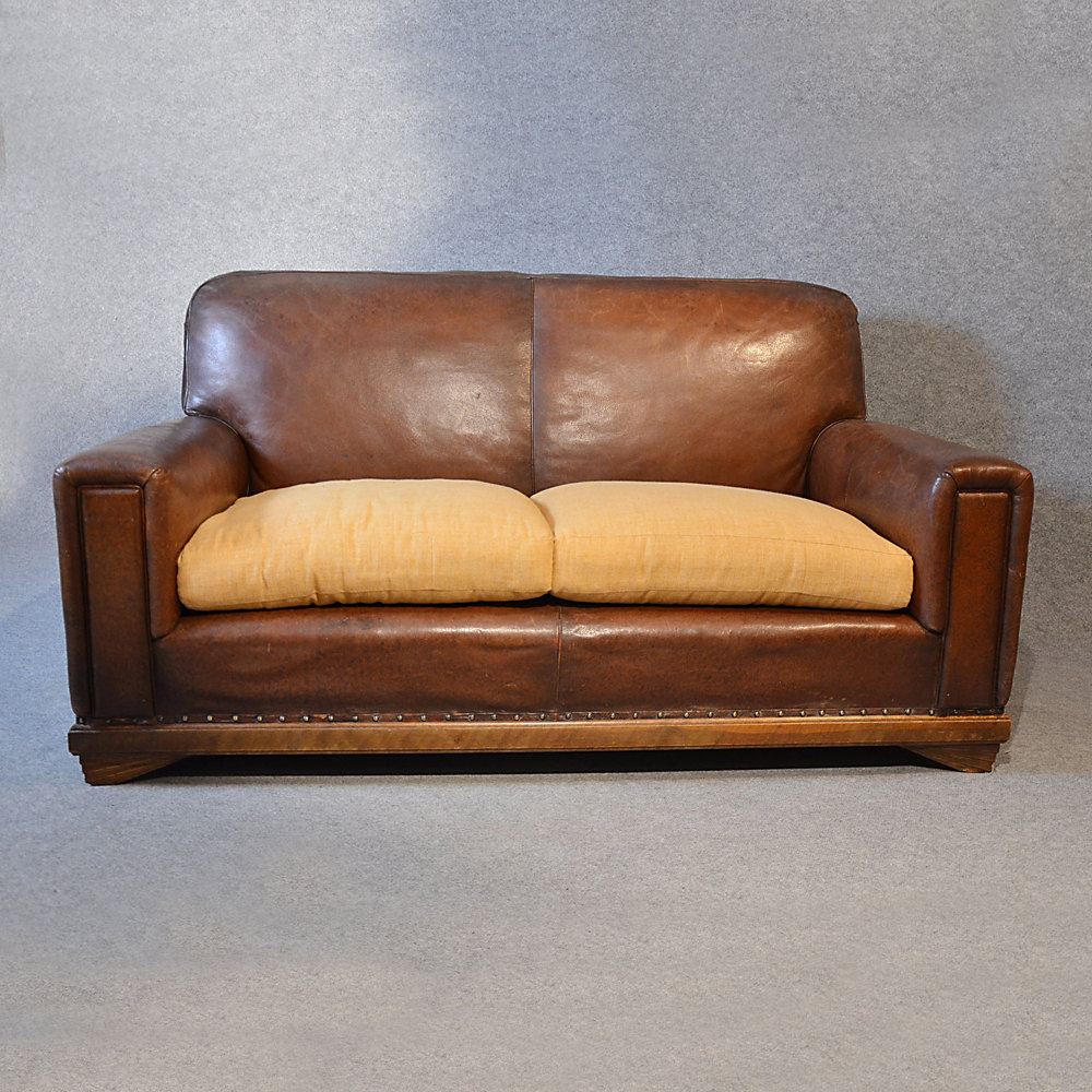 Sofa Vintage Leather Antique 2 Seater Club Settee Antiques Atlas