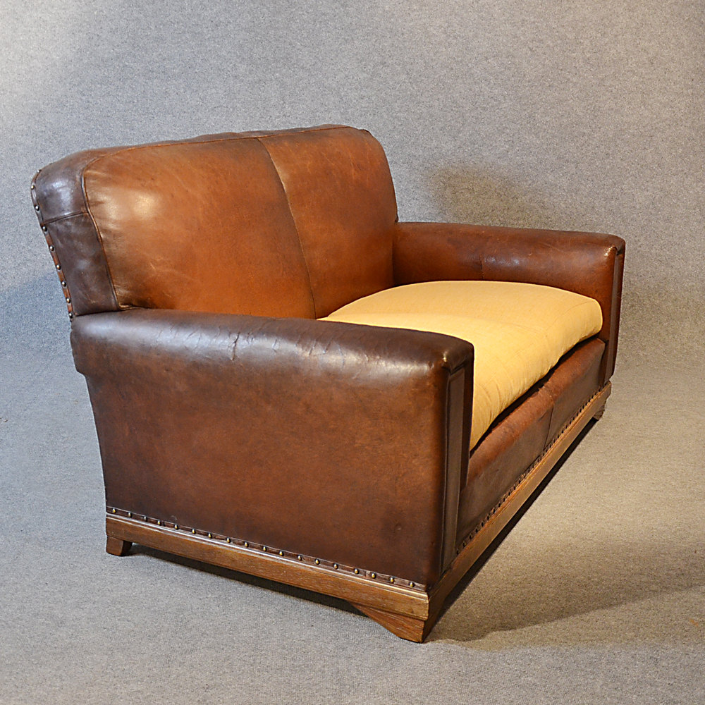 Sofa Vintage Leather Antique 2 Seater Club Settee