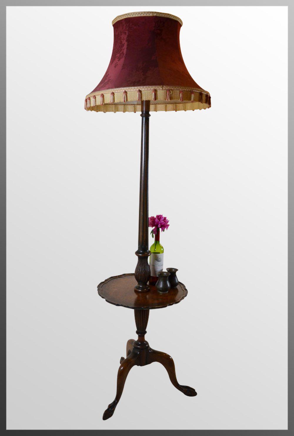 Antiques Atlas Standard Lamp Wine Table Amp Shade Tall Floor