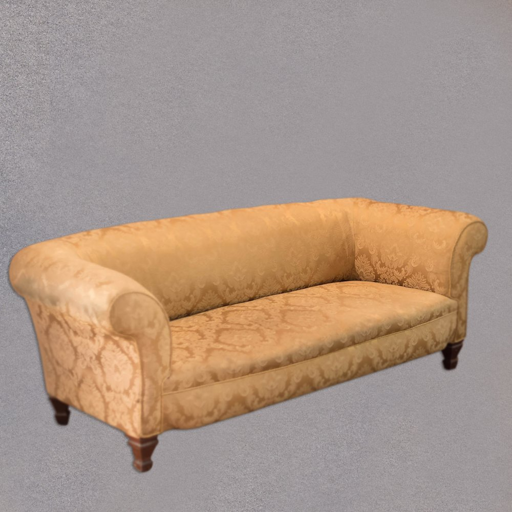 Victorian sofa chesterfield in golden fabric for Victorian sofa