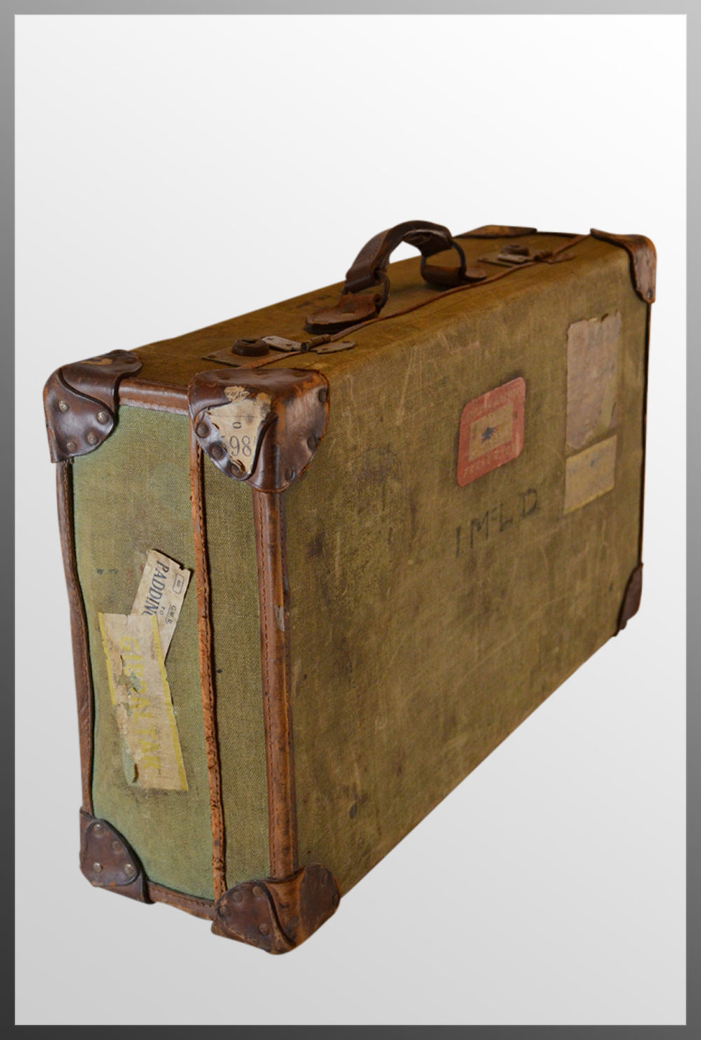Antiques atlas vintage leather bound suitcase travel - Vintage suitcase ...