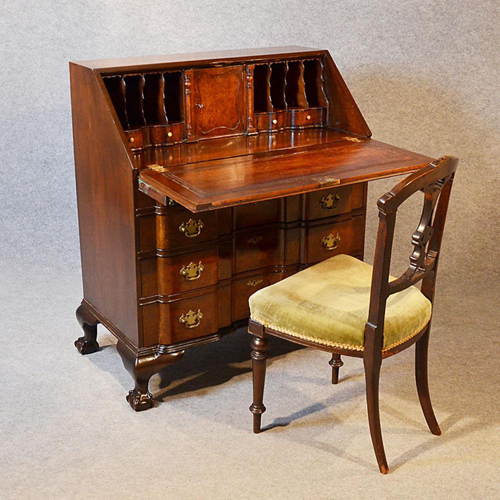 Writing desk bureau quality serpentine front burr for Bureau writing desk