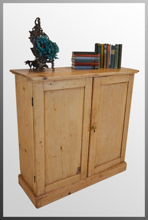 Ictorian pine cabinet bookcase twin door cupboard for Antique pine kitchen cabinets