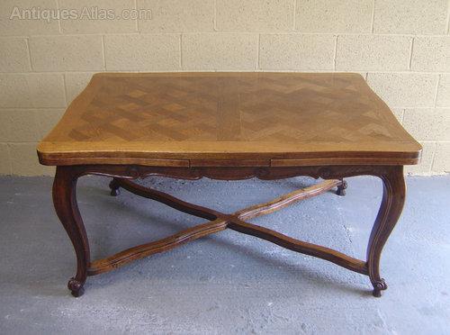 French Oak Parquet Top Dining Table - Antiques Atlas