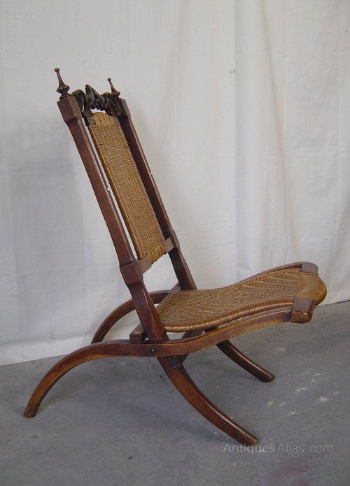 A Victorian Walnut Folding Campaign Chair Antiques Atlas