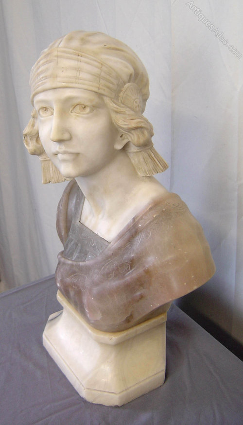 Antiques atlas italian carved marble alabaster female bust