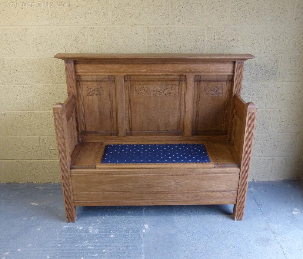 Antiques Atlas Oak Settle Bench With Storage