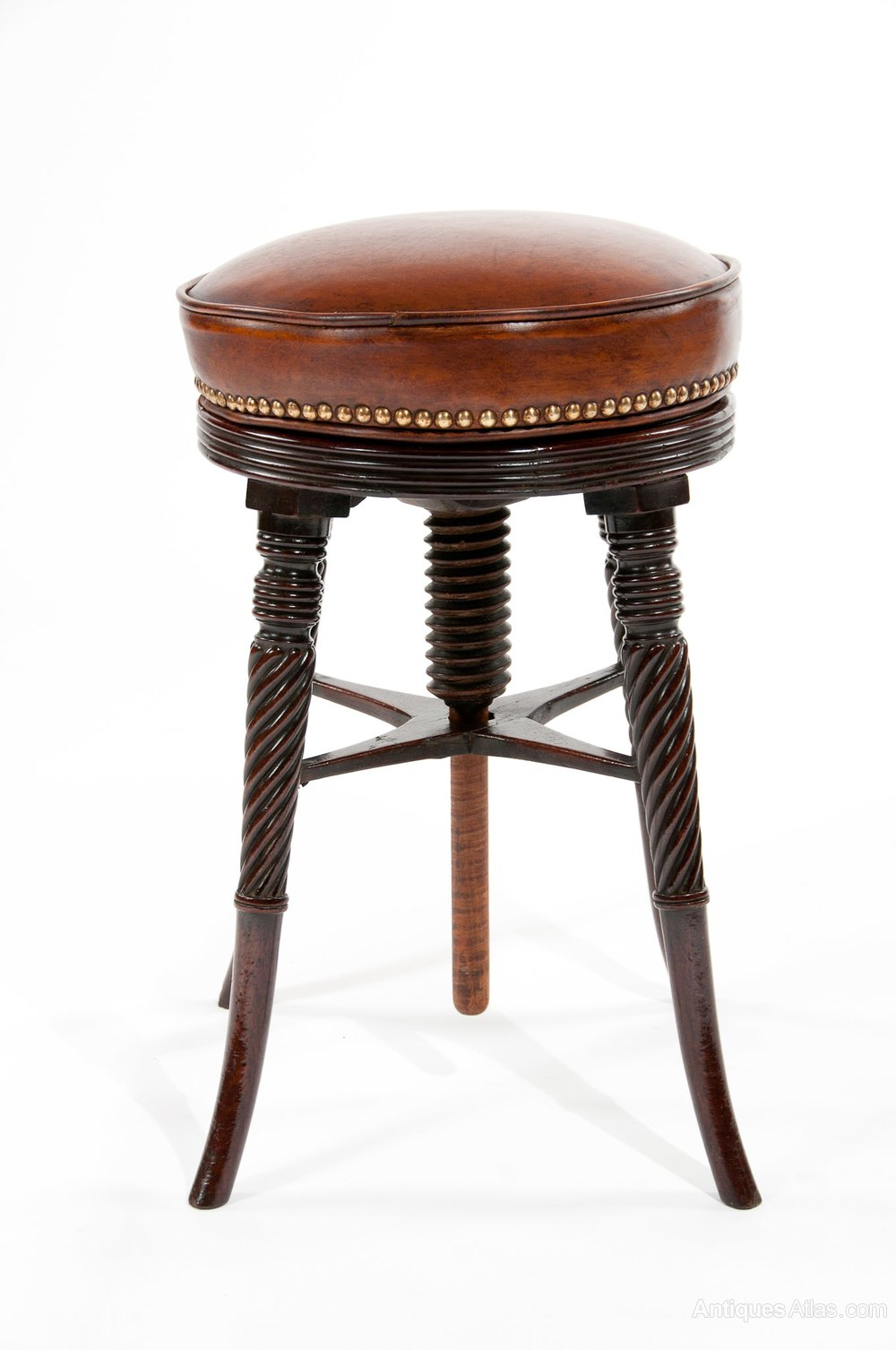 A Fine Regency Mahogany Adjustable Piano Stool Antiques